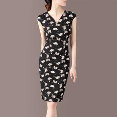 2016夏装新款简约修身显瘦短袖气质优雅OL中长款印花连衣裙子
