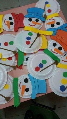 paper plate snowmen