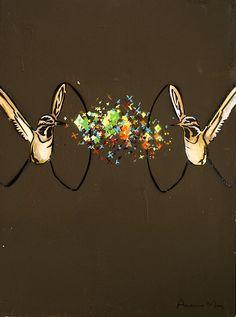 """Hummingbirds"" spray paint and acrylic on canvas Hummingbird, Artsy Fartsy, Amanda, Spirit, Charmed, Canvas, Bracelets, Painting, Jewelry"