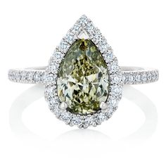 De Beers 1888 Coloured Master Diamonds Aura ring set with a 2.00-carat Fancy Greenish Yellow diamond