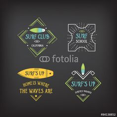 Vector: Surf vintage elements. Retro logo board.