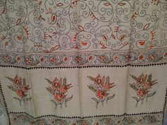 88x35 Cream Indian Tussar Silk Shawl Scarf with Kantha and Hand Embroidery Long Scarf (J15038). $49.99, via Etsy.