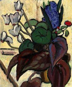 """Gabriele Munter """"Blumen auf Weiss, Zyklamen und Hyazinthe"""", 1934 (Germany, Expressionism, 20th cent.)"""