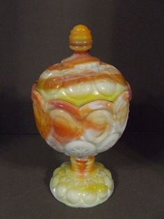 KANAWHA MOON AND STARS ORANGE/YELLOW TANGERINE SLAG GLASS COVERED CANDY COMPOTE | eBay