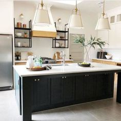 My Green Kitchen Design Elements and Inspiration - little house of could Green Kitchen Designs, Kitchen Colors, Kitchen Layout, Kitchen Furniture, Kitchen Decor, Navy Kitchen, Lisa's Kitchen, Eclectic Kitchen, Kitchen Pendants