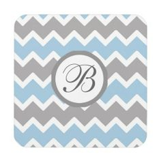 Personalized Monogram Blue Grey Chevron Coasters. Great house warming gift #decampstudios
