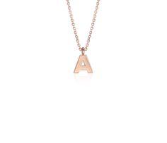 """""""A"""" Mini Initial Pendant in 14k Rose Gold"""
