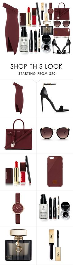 """Date night"" by aamilah-hess ❤ liked on Polyvore featuring Yves Saint Laurent, Rebecca Taylor, Kevyn Aucoin, Native Union, Skagen, Bobbi Brown Cosmetics and Gucci"