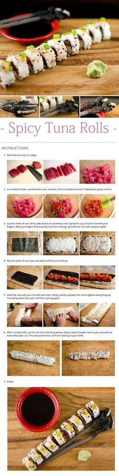 Make spicy tuna rolls at home for half the price of going out. Top the spicy tuna rolls with some spicy mayo and they are oh so good. Sushi Party, Diy Sushi, Sushi Sushi, Fried Sushi, Nigiri Sushi, Sushi Bowl, Sushi Chef, Spicy Tuna Roll, Spicy Tuna Recipe