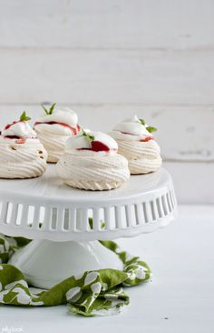 meringue nests with basil scented strawberry-rhubarb compote - Jelly Toast