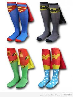 unusual Superhero Socks-sold complete with little mini capes. They come in Superman, Batman, Robin and Wonder Woman varieties. I want the Wonder Woman socks. You Are My Superhero, Superhero Capes, Superhero Fashion, Superhero Classroom, Tough Mudder, Crazy Socks, Cool Socks, Awesome Socks, Silly Socks