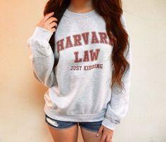 Harvard Law Just Kidding Sweatshirt  Harvard by angeliqueapparel