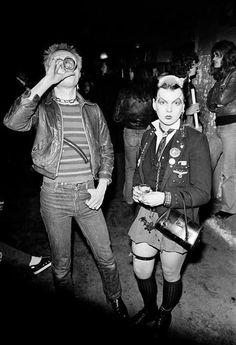 Punk icon Soo Catwoman and Rat Scabies at a show for the Damned in London, 1976.