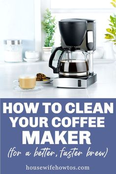 Get your slow coffee maker working fast again. Clean mildew growing in your coffee machine. Remove mineral buildup from your coffee maker. You'll get a faster cup of coffee that tastes better, too. #coffeemaker #coffeemachine #cleaning #kitchencleaning #householdtip #housewifehowtos Kitchen Cleaning, Kitchen Hacks, Cleaning Checklist, Cleaning Hacks, Drip Coffee Maker, Coffee Cups, Kitchen Organization, Organizing, Coffeemaker