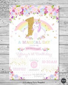 UNICORN INVITATION INVITE GIRLS 1ST FIRST BIRTHDAY PARTY RAINBOW FLORAL ANY AGE #CUSTOMINVITATION #Birthday
