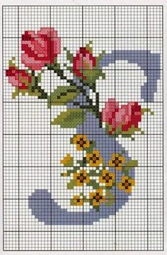 Steel Blue with Roses Alphabet Cross Stitch Pattern Alfabe Alphabet S Cross Stitch Alphabet Patterns, Cross Stitch Letters, Cross Stitch Cards, Cross Stitch Rose, Cross Stitch Designs, Cross Stitching, Stitch Patterns, Ribbon Embroidery, Cross Stitch Embroidery