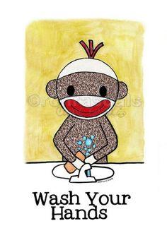 Sock Monkey Bathroom Reminder Wash Your Hands 4x6 by Monkey Hut Designs,  For Gale  http://www.amazon.com/dp/B00782H7U4/ref=cm_sw_r_pi_dp_pebQpb1TBRMW1