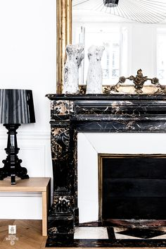 #royalroulotte studio -★- #homedecor #detail #old #fireplace #marble #haussmann
