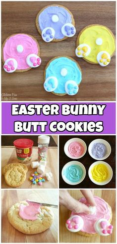 Easter Bunny Butt Cookies recipe. Fun sugar cookie decorating for kids. #easter #easterbunny #cookies