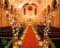 decoração de casamento igreja dourado - Pesquisa Google