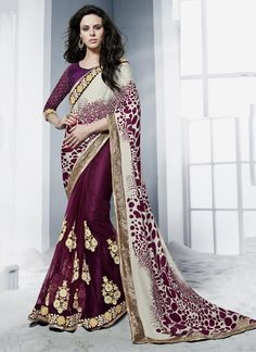 select from a wide range of designer sarees online. Buy this satin embroidered and patch border work classic designer saree.
