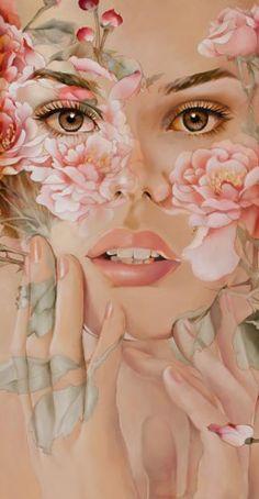 Cet magnifique oeuvre a été réalisée par Wendy Ng.Cet oeuvre représente une belle jeune femme avec des fleurs dans le visage et sur les mains.Ses yeux bruns font ressortir le ton rosée des fleurs.Je trouve que l'oeuvre parait très réaliste.Les fleurs qui semblent être des roses rendent le tableau fantaisique et coloré.J'aime ce tableau parce qu'il est très réaliste et les belles fleurs rajoute une magnifique touche de couleur ce qui me fait ressentir de la joie.