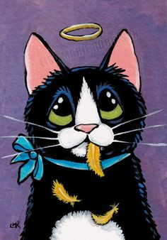 Original ACEO Naughty Tuxedo Cat & Canary Feathers, Art by Lisa Marie Robinson Logo Gato, Animals And Pets, Cute Animals, Cat Quilt, Rainbow Art, Watercolor Animals, Cat Drawing, Beautiful Cats, Cool Cats