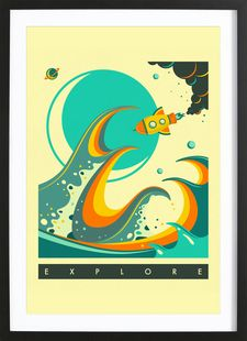 Europa Explore - Jazzberry Blue - Affiche premium encadrée