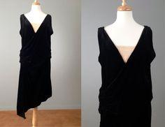 Vintage 20s Black Silk Velvet Flapper Dress by OffBroadwayVintage, $495.00
