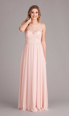 High Illusion neck bridesmaid dress - Kennedy Blue Delilah