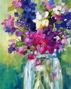 """Daily Paintworks - """"Exuberant Bouquet"""" - Original Fine Art for Sale - ©️️ Libby Anderson My Virtual Art Gallery WORLD NO TOBACCO DAY - 31 MAY PHOTO GALLERY  