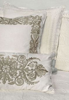 ankasa Pillows from entrance to again: Linen with Corded French Scrolls 15″x30″ ....  See even more at the image link