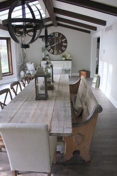 gingham and grace: a church pew in the dining room