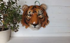 Vintage Ceramic Tiger Fauxidermy / Pottery Head Taxidermy / Decorative Wall Art / Wall Decoration Made in Italy Faux Taxidermy, Vintage Italian, Vintage Ceramic, Wall Art Decor, Needlepoint, Vintage Items, Tapestry, Pottery, Italy