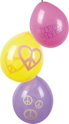 6 Palloncini hippy simbolo della pace su VegaooParty, negozio di articoli per feste. Scopri il maggior catalogo di addobbi e decorazioni per feste del web,  sempre al miglior prezzo!