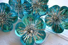 Vintage Christmas Ornaments Turquoise Foil by pumpkintruck