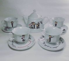 Alice in Wonderland Mad Hatter Rabbit Small Teapot Teacup Saucer Sugar Creamer Alice In Wonderland Figurines, Alice In Wonderland Doll, Coffee Set, Coffee Cups, Toddler Tea Party, Tea Cup Saucer, Mug Cup, Flower Patterns, Hand Lettering
