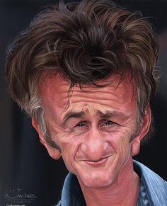Celebrity Caricatures by Alexander Novoseltsev,  Sean Penn