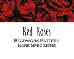 Red Roses Peyote Stitch/Brick Stitch Beadwork by RareSpecimens Peyote Beading, Seed Bead Patterns, Peyote Patterns, Beading Patterns, Peyote Stitch, Cross Stitch, Brick Stitch, Workbenches, Patterns