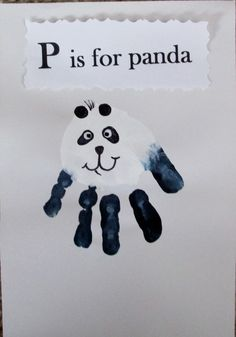 Hand painting for kids Panda Bear handprint Zoo Crafts, Daycare Crafts, Classroom Crafts, Animal Crafts, Baby Crafts, Panda Bear Crafts, Panda Craft, Letter P Crafts, Alphabet Crafts