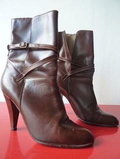 Bottines Boots CUIR Bottes leather marron Taille 37 talons esprit vintage vtg