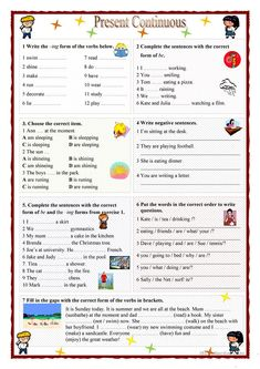 This worksheet can be used for practising or for testing the Present Continuous tense. Grammar: Present continuous (progressive) tense, Verb tenses; English Grammar For Kids, Teaching English Grammar, English Grammar Worksheets, 2nd Grade Worksheets, English Lessons For Kids, Grammar Lessons, English Language Learning, Grammar Rules, French Language
