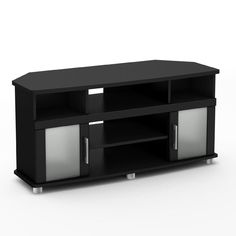 Corner TV Stand Flat Screen Wood Media Console Entertainment Center Glass Black #SSTelevisionFurniture #Modern
