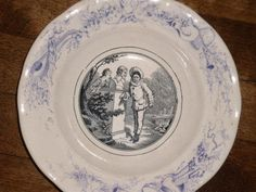 ANTIQUE 19th C TRANSFERWARE 8  BOWL COMEDIA V&B A VERY NICE ANTIQUE VICTORIAN TRANSFERWARE 8  BOWL MARKED - COMEDIA V.& B. , IT HAS A NICE TRANSFER OF A YOUNG WOMAN HIDING BEHIND A GARDEN BUST & WHIS