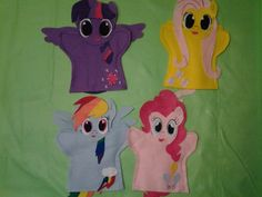My Little Pony hand Puppets $22.99 Custom Puppets, Felt Puppets, Hand Puppets, Finger Puppets, My Little Pony Party, Puppets For Sale, Puppets For Kids, Sewing For Kids, Diy For Kids
