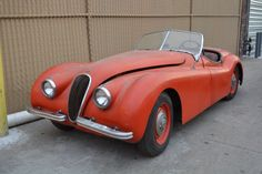This 1953 Jaguar XK120 Roadster is an excellent original car for restoration. Red with black interior. For only $43,500   #gullwingmotorcars #classiccars #buy&sellclassiccars #VintageCarBuyer #ClassicCar #antiqueCarBuyer #Jaguar  #1953JaguarXK120Roadster