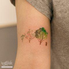 나무 타투 by 타투이스트 리버.watercolor tree tattoo by tattooist River
