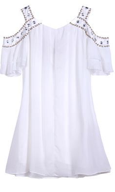 Shop White Off the Shoulder Bead Rhinestone Chiffon Dress online. SheIn offers White Off the Shoulder Bead Rhinestone Chiffon Dress & more to fit your fashionable needs.