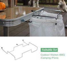 Stainless Steel Camping BBQ Table Trash Bag Holder Rack Grid Frame Shelf