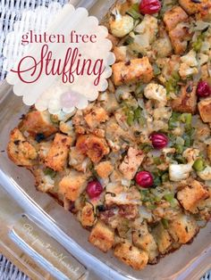 Gluten Free Stuffing ... this delicious + nourishing stuffing is truly special. It's full of gluten free sour dough, sautéed cauliflower, celery + cranberries. A lovely addition to the Thanksgiving holiday meal. | Recipes to Nourish